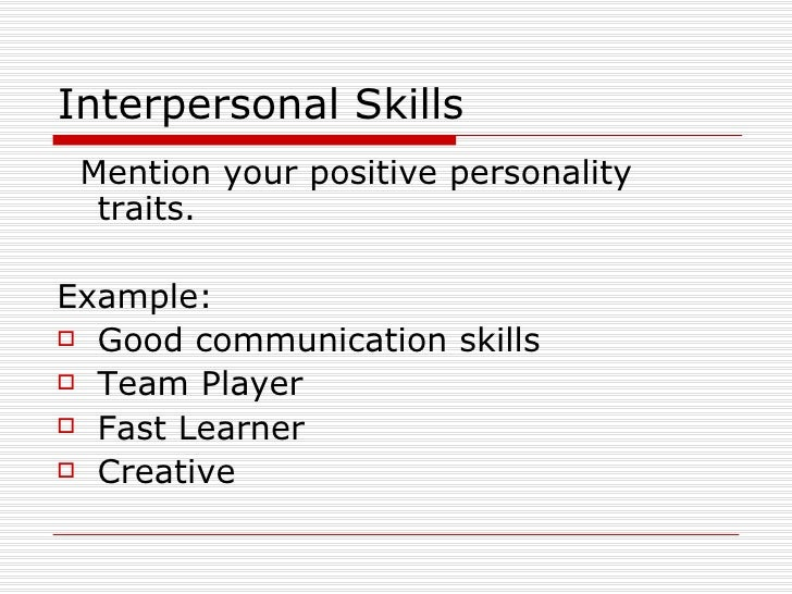 ... personality traits in the workplace. entry level resume