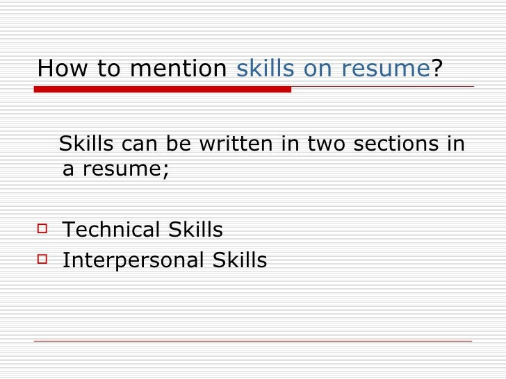 Interpersonal Skills To Mention In Resume
