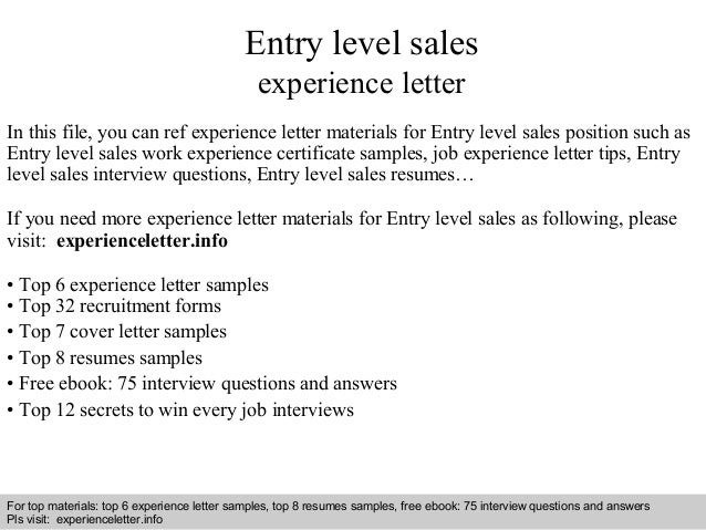 Entry Level Sales Experience Letter In This File, You Can Ref Experience  Letter Materials For