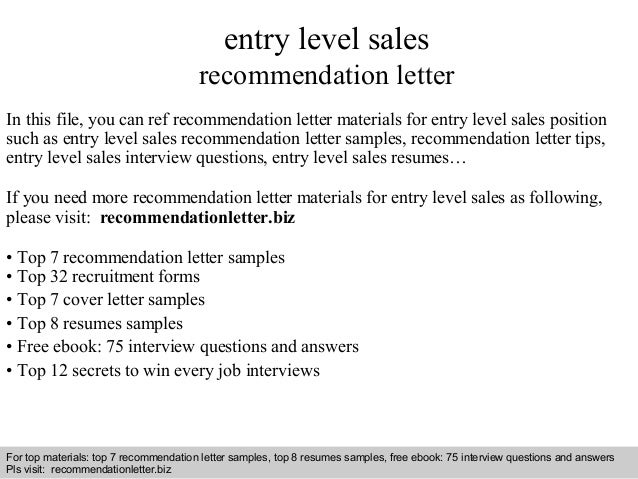 Entry Level Sales Recommendation Letter