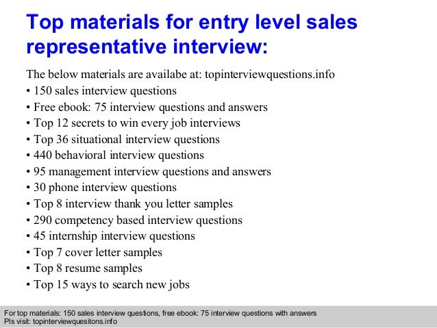 entry level sales representative interview questions and answers
