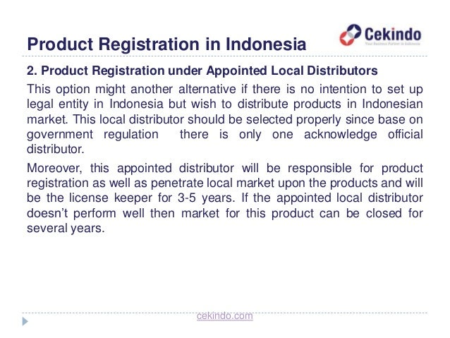 Entry Market in Indonesia: Product Registration