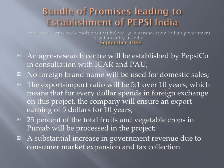 pepsi entry in to india Pepsi's entry strategy in india   submitted by: shashank chauhan a  letter to pepsi history about a pepsi.