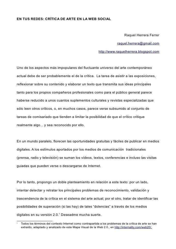 EN TUS REDES: CRÍTICA DE ARTE EN LA WEB SOCIAL                                                                            ...