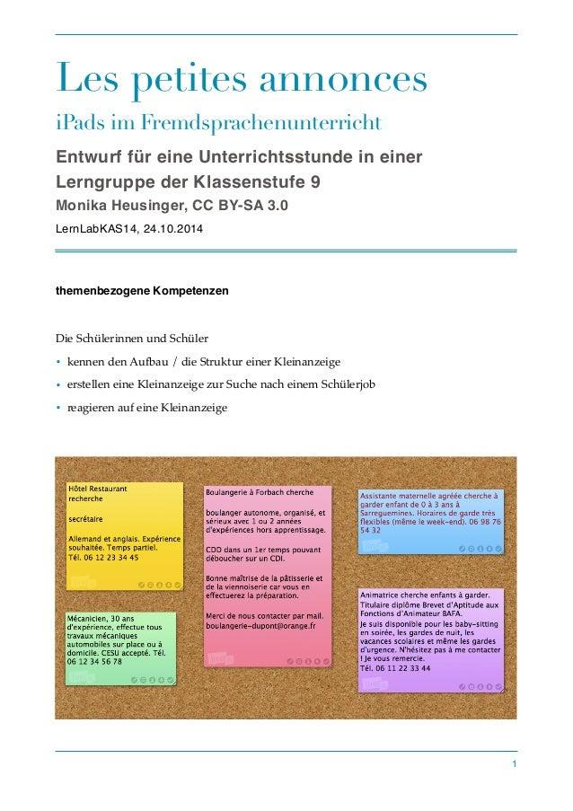 Les petites annonces  iPads im Fremdsprachenunterricht  Entwurf für eine Unterrichtsstunde in einer  Lerngruppe der Klasse...