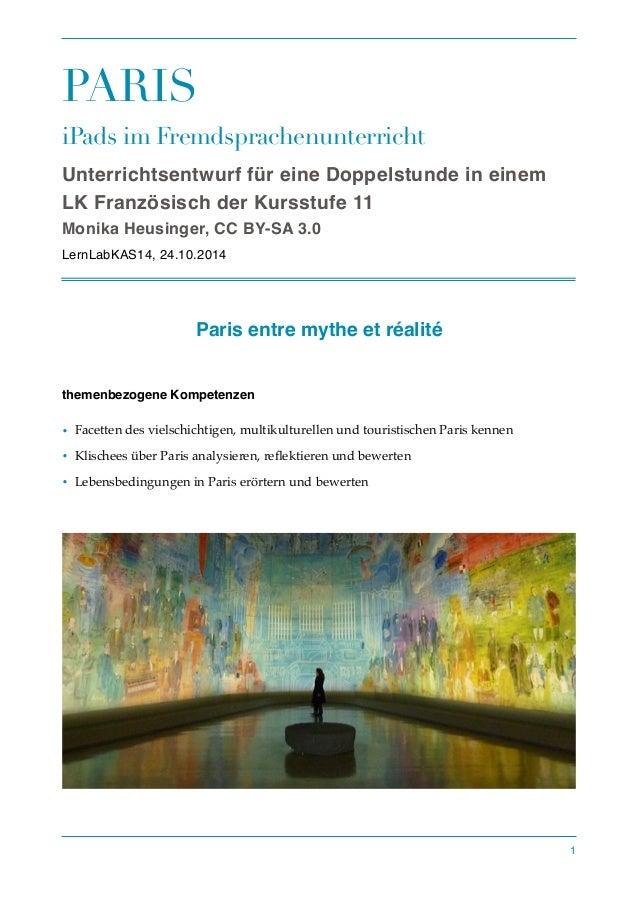 PARIS  iPads im Fremdsprachenunterricht  Unterrichtsentwurf für eine Doppelstunde in einem  LK Französisch der Kursstufe 1...