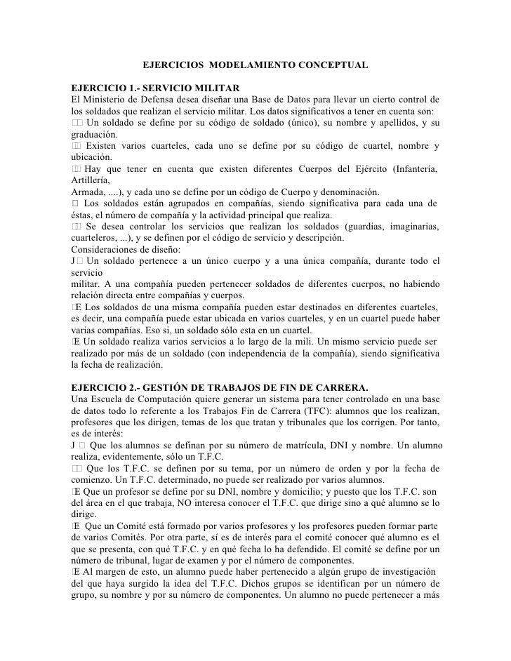 EJERCICIOS MODELAMIENTO CONCEPTUALEJERCICIO 1.- SERVICIO MILITAREl Ministerio de Defensa desea diseñar una Base de Datos p...
