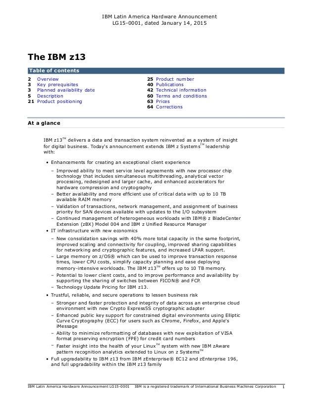 IBM Latin America Hardware Announcement LG15-0001, dated January 14, 2015 IBM Latin America Hardware Announcement LG15-000...
