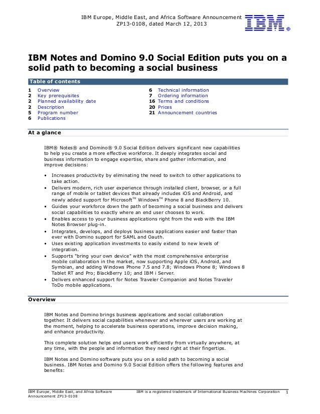 Ibm Notes And Domino 90 Social Edition
