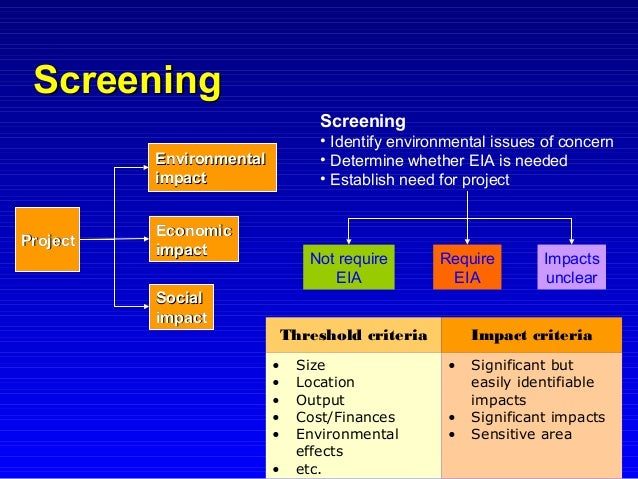 scoping and screening in environmental impact The social and environmental impact assessment process a guide to biodiversity for the private sector wwwifcorg/biodiversityguide screening screening is a quick.