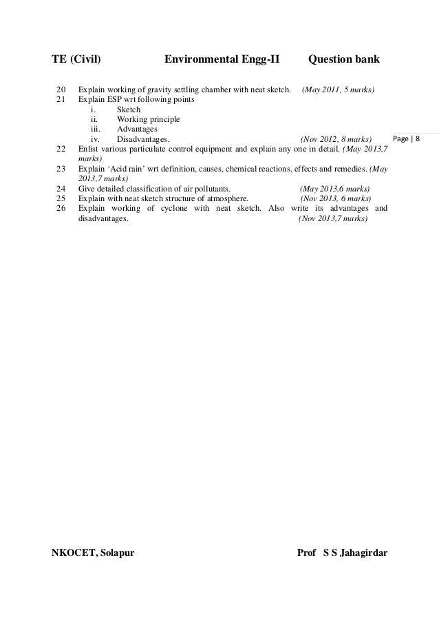 TE (Civil) Environmental Engg-II Question bank NKOCET, Solapur Prof S S Jahagirdar Page   8 20 Explain working of gravity ...