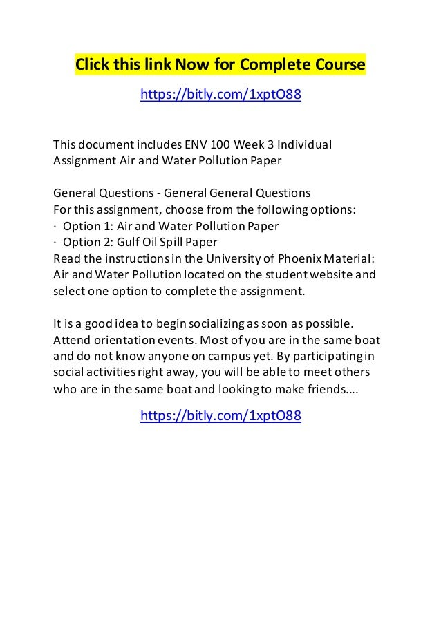 water pollution assignment