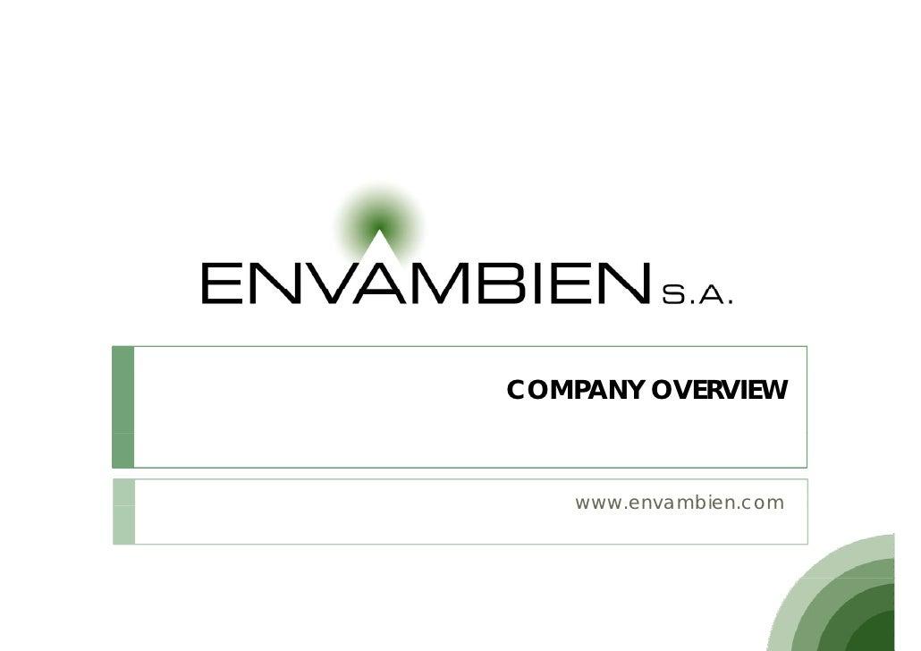 COMPANY OVERVIEW       www.envambien.com    www envambien com
