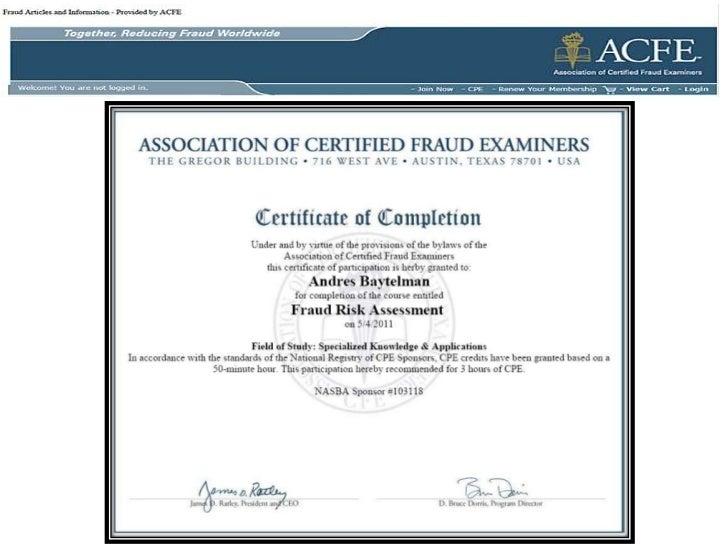 En vías de certificación ACFE