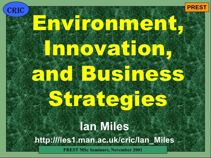 Environment, Innovation, and Business Strategies Ian Miles http:///les1.man.ac.uk/cric/Ian_Miles