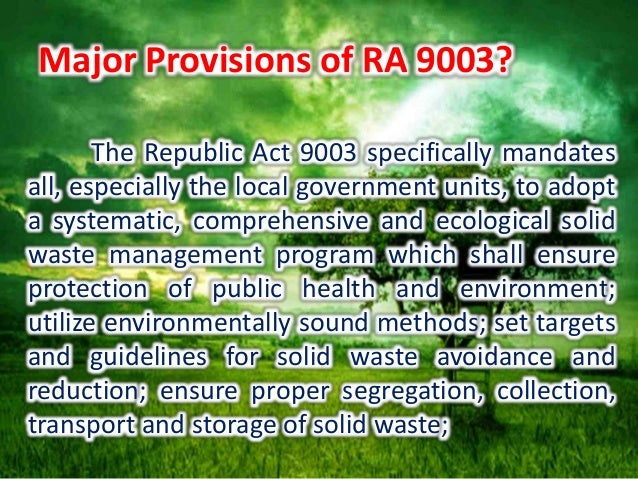 ecological solid waste management act of The us military composted 670 tons of food waste at its joint base sending zero solid waste to selling compost to storm water management projects.