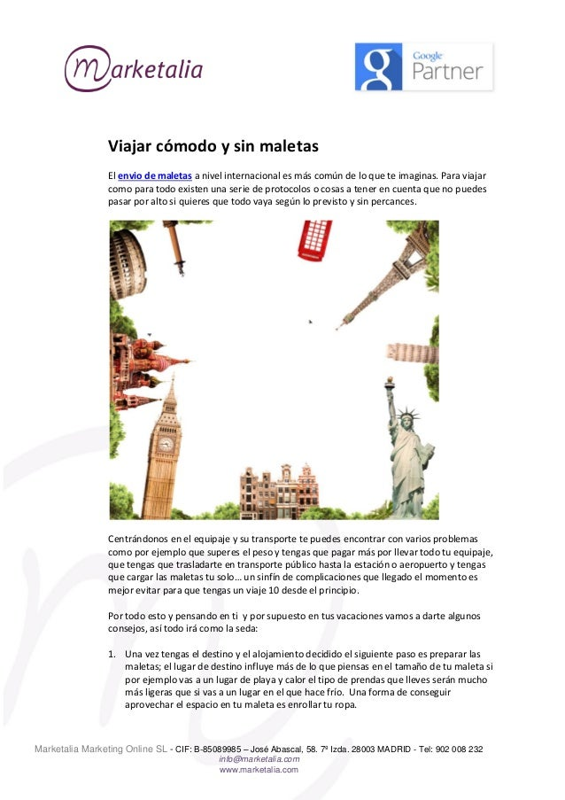 e4f42cfd5 Enviar maletas- viajar. Marketalia Marketing Online SL - CIF: B-85089985 –  José Abascal, 58.