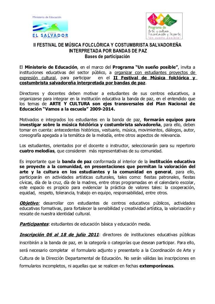 II FESTIVAL DE MÚSICA FOLCLÓRICA Y COSTUMBRISTA SALVADOREÑA                       INTERPRETADA POR BANDAS DE PAZ          ...