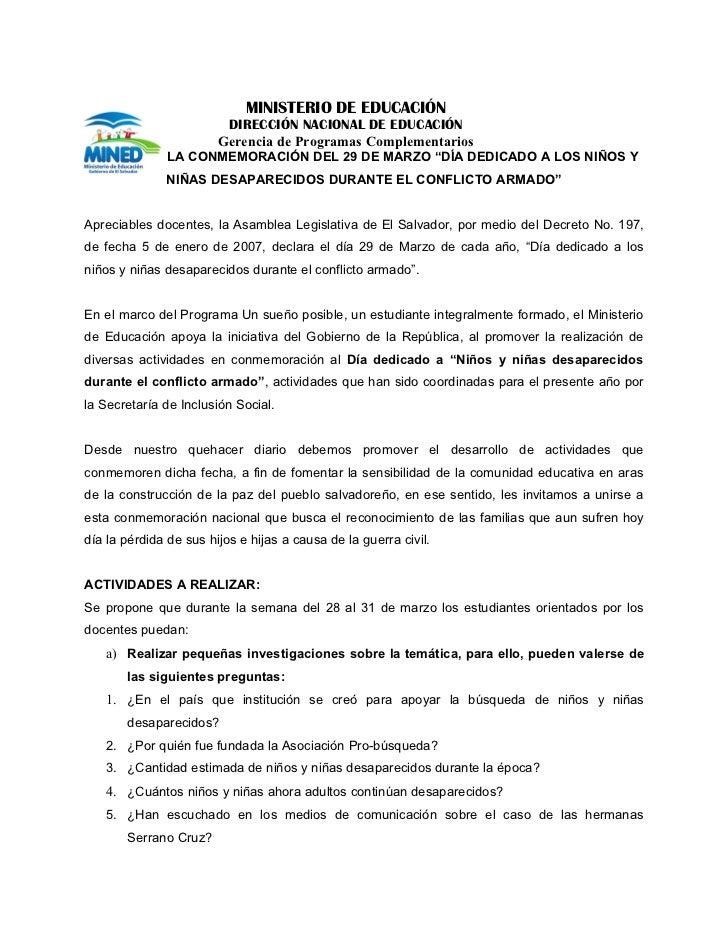 MINISTERIO DE EDUCACIÓN                         DIRECCIÓN NACIONAL DE EDUCACIÓN                        Gerencia de Program...