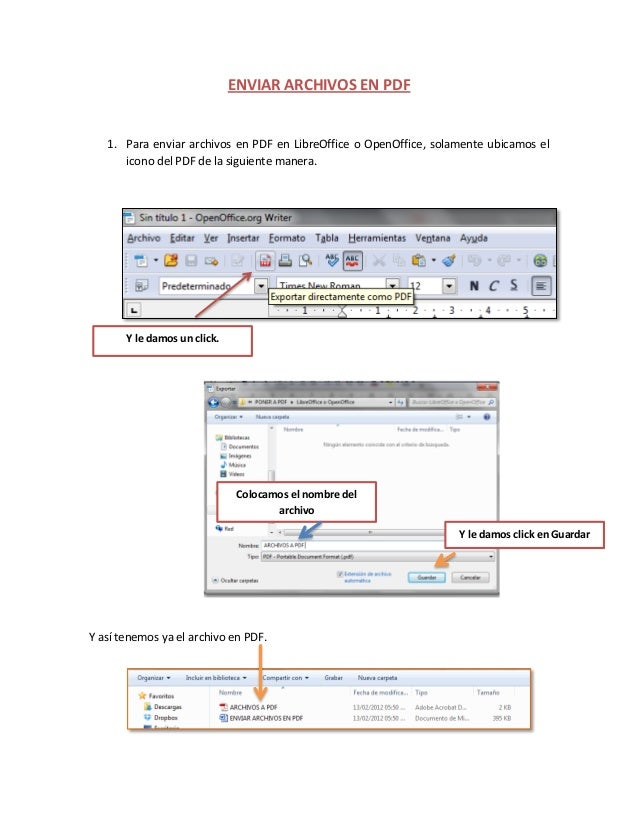 ENVIAR ARCHIVOS EN PDF 1. Para enviar archivos en PDF en LibreOffice o OpenOffice, solamente ubicamos el icono del PDF de ...