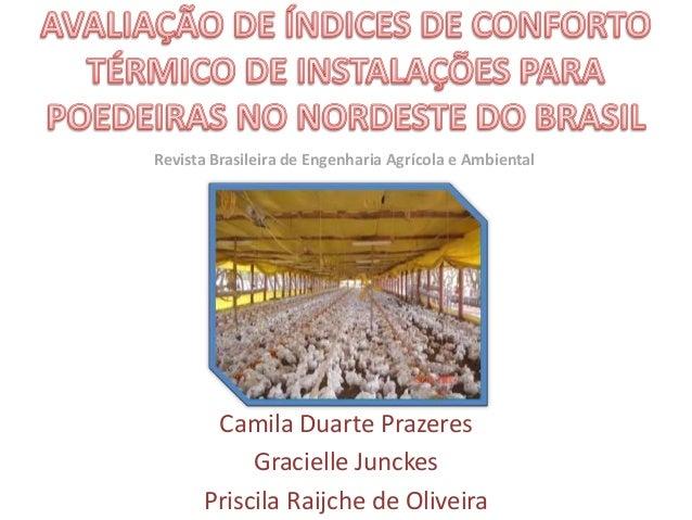 Camila Duarte Prazeres Gracielle Junckes Priscila Raijche de Oliveira Revista Brasileira de Engenharia Agrícola e Ambiental