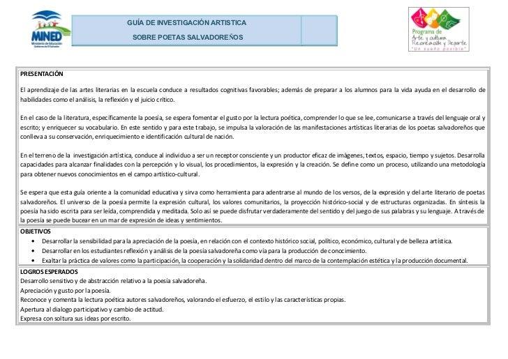 GUÍA DE INVESTIGACIÓN ARTISTICA                                          SOBRE POETAS SALVADOREÑOSPRESENTACIÓNEl aprendiza...