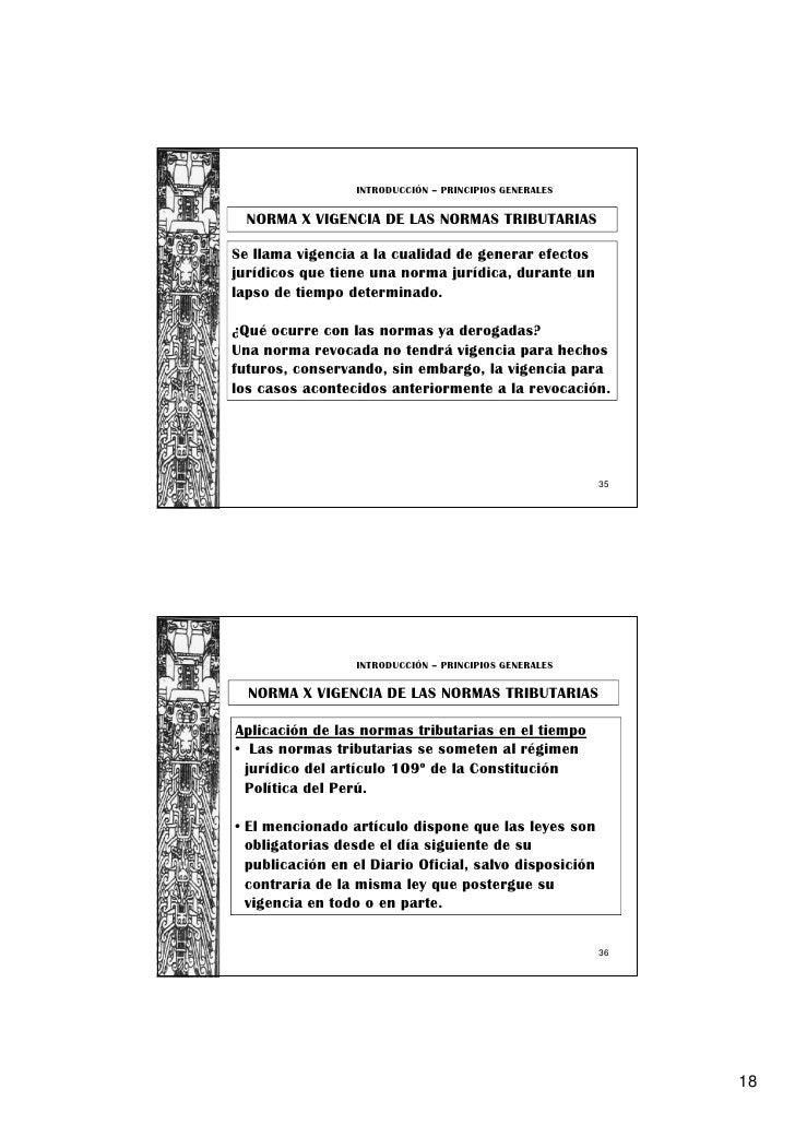 INTRODUCCIÓN – PRINCIPIOS GENERALES  NORMA X VIGENCIA DE LAS NORMAS TRIBUTARIASSe llama vigencia a la cualidad de generar ...