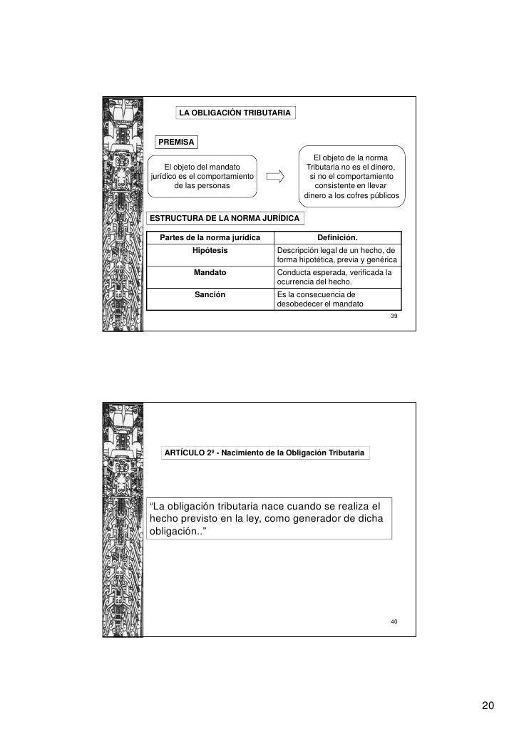 LA OBLIGACIÓN TRIBUTARIA  PREMISA                                          El objeto de la norma     El objeto del mandato...