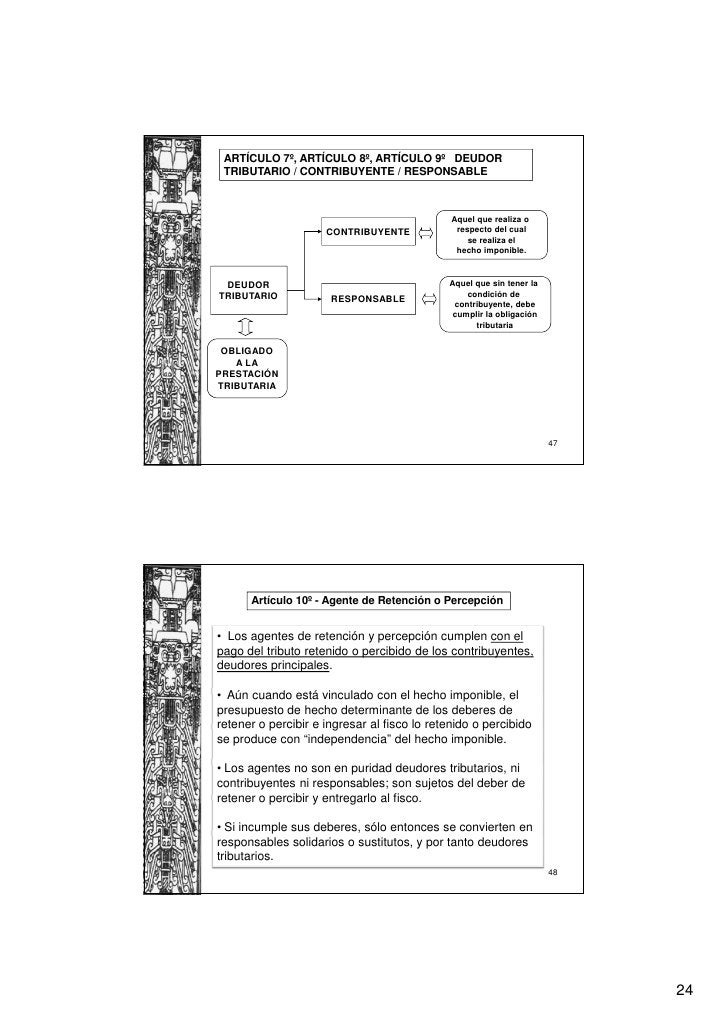 ARTÍCULO 7º, ARTÍCULO 8º, ARTÍCULO 9º DEUDOR TRIBUTARIO / CONTRIBUYENTE / RESPONSABLE                                     ...