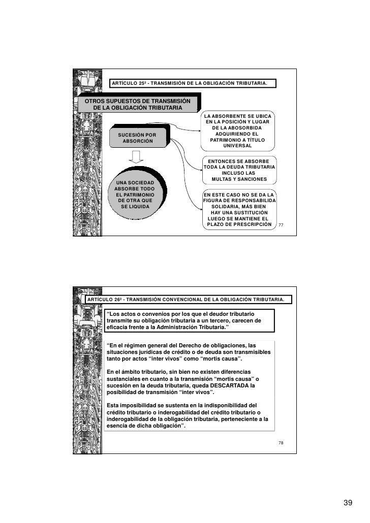 ARTÍCULO 25º - TRANSMISIÓN DE LA OBLIGACIÓN TRIBUTARIA.OTROS SUPUESTOS DE TRANSMISIÓN  DE LA OBLIGACIÓN TRIBUTARIA        ...