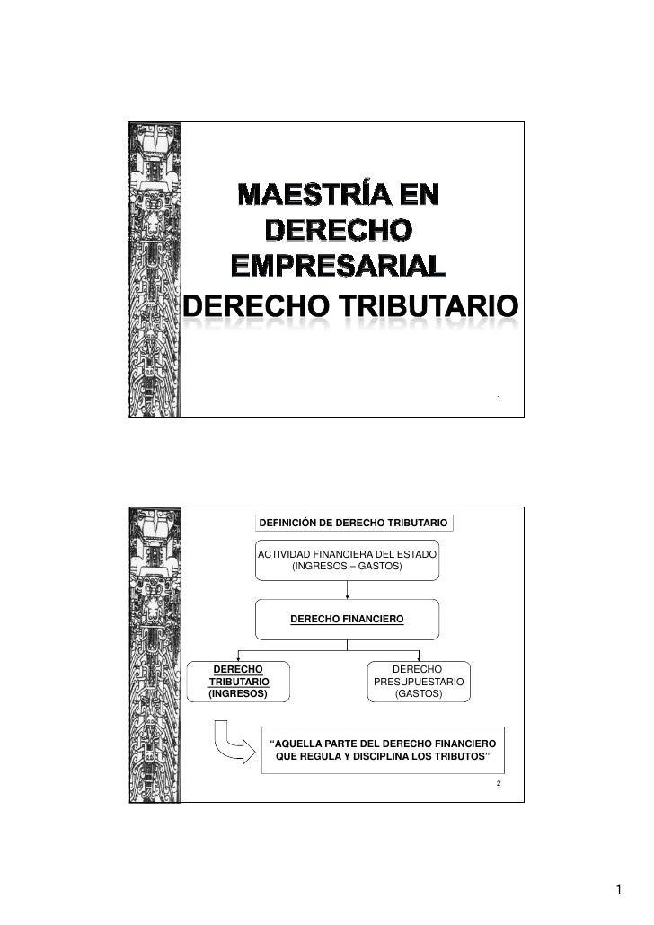 1        DEFINICIÓN DE DERECHO TRIBUTARIO        ACTIVIDAD FINANCIERA DEL ESTADO              (INGRESOS – GASTOS)         ...