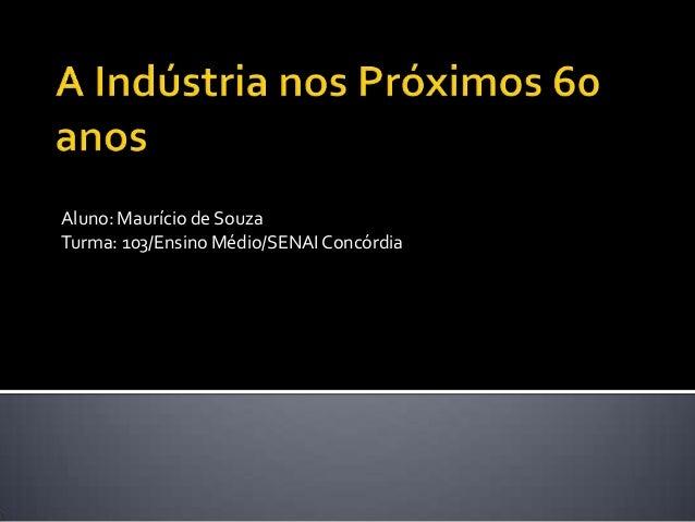 Aluno: Maurício de Souza Turma: 103/Ensino Médio/SENAIConcórdia