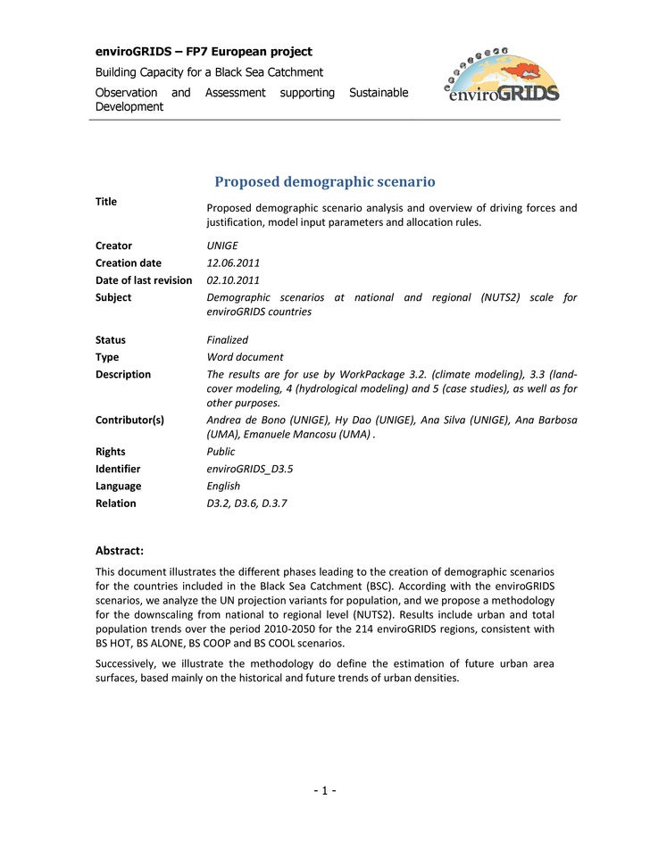 enviroGRIDS – FP7 European projectBuilding Capacity for a Black Sea CatchmentObservation and         Assessment     suppor...
