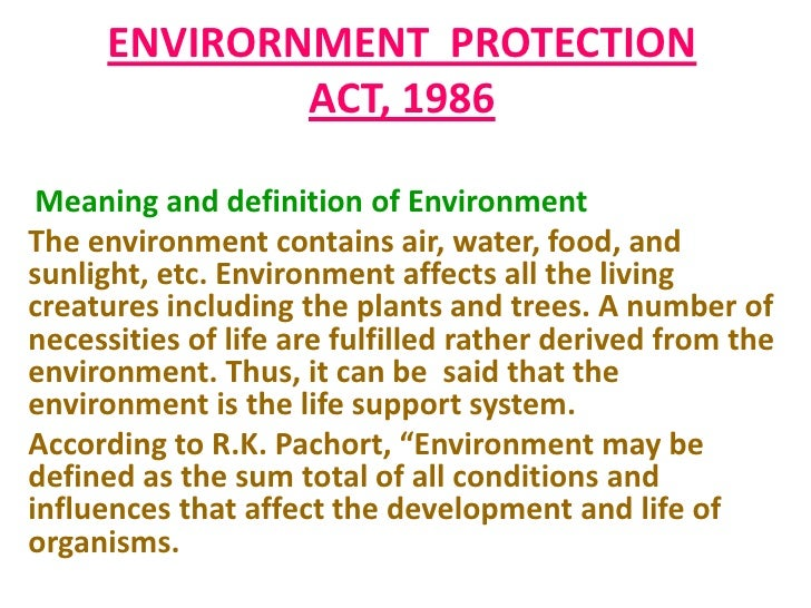 Environmental protection act, 1986.