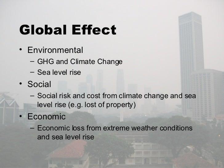Global Effect <ul><li>Environmental </li></ul><ul><ul><li>GHG and Climate Change </li></ul></ul><ul><ul><li>Sea level rise...