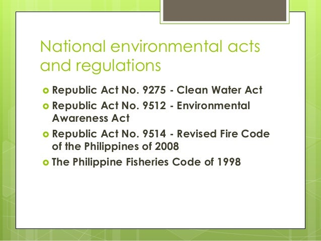 republic act no 9275 the philippine Back record details: subject/title: implementating rules and regulations of the philippine clean water act of 2004 (republic act no 9275) signatory.