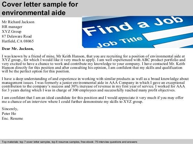 Cover Letter Sample For Environmental Aide ...