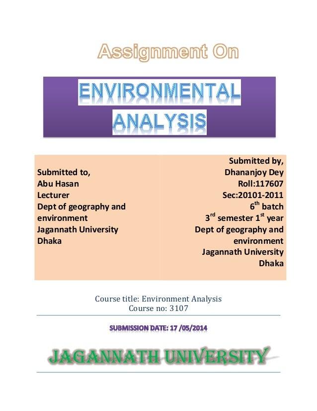 Environmental Analysis Of Jagannath University