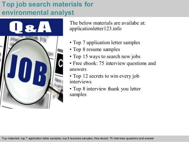 Environmental Analyst Sample Resume 5 Top Job Search Materials