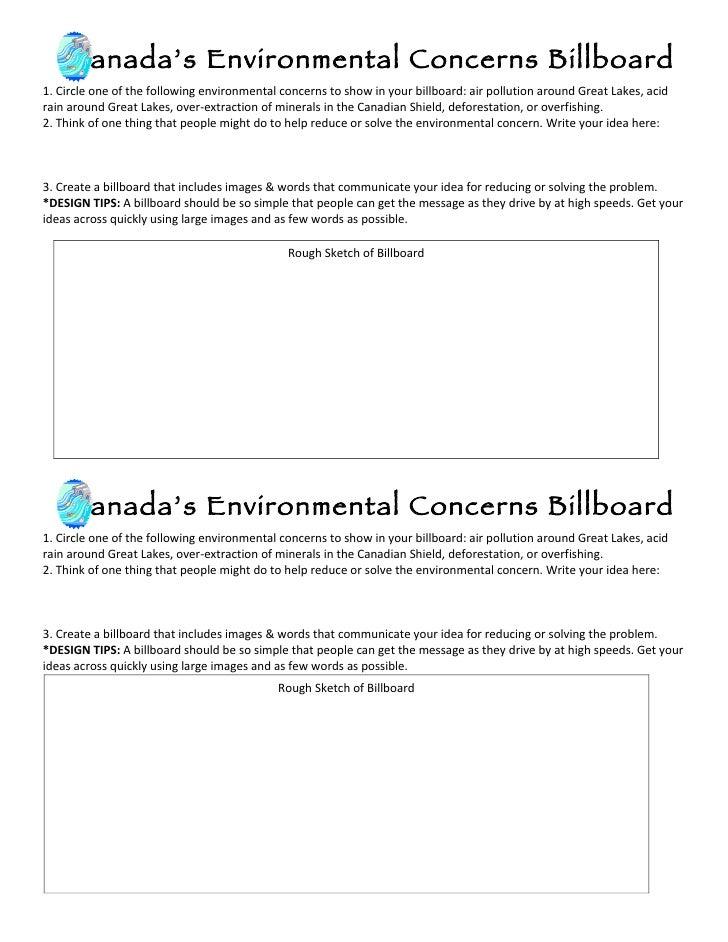 Canada's Environmental Concerns Billboard 1. Circle one of the following environmental concerns to show in your billboard:...