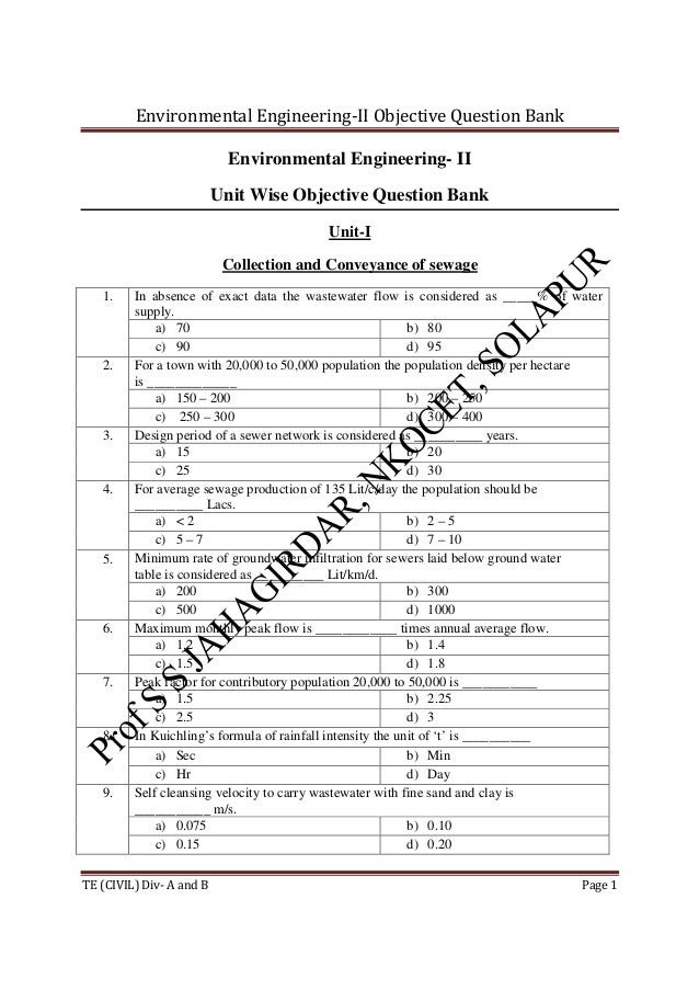 Environmental Engineering-II Objective Question Bank TE (CIVIL) Div- A and B Page 1 Environmental Engineering- II Unit Wis...