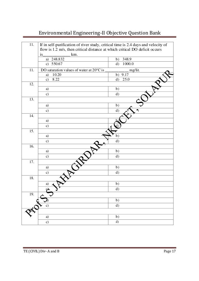 Environmental Engineering-II Objective Question Bank TE (CIVIL) Div- A and B Page 17 11. If in self-purification of river ...