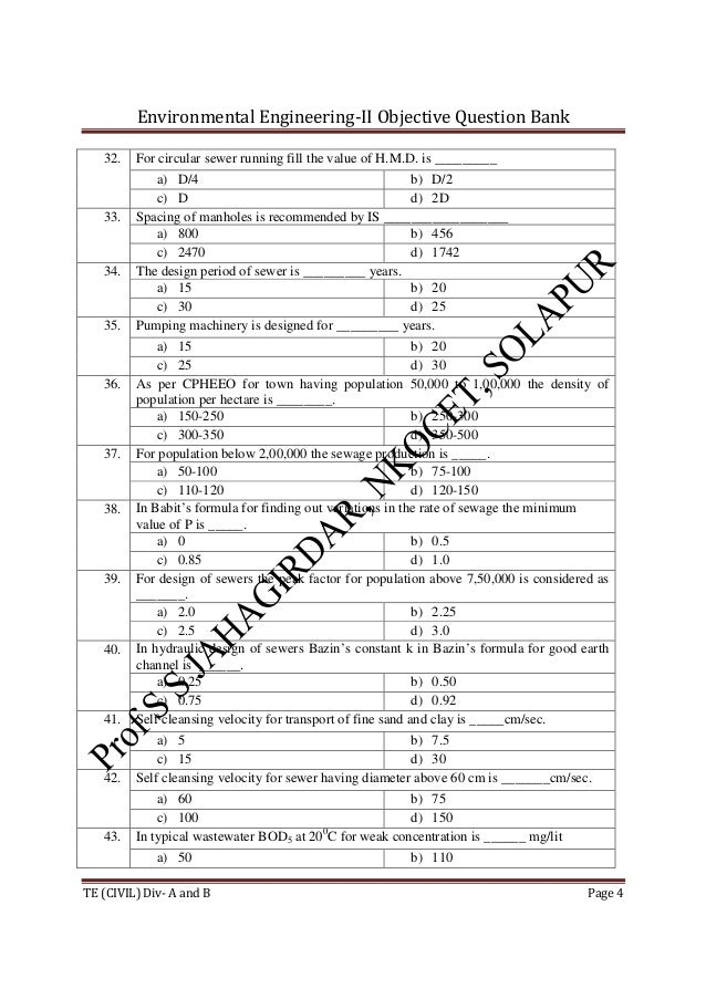 Environmental Engineering-II Objective Question Bank TE (CIVIL) Div- A and B Page 4 32. For circular sewer running fill th...
