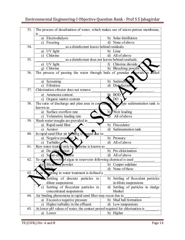 Environmental Engineering-I Objective Question Bank - Prof S S Jahagirdar 53.  54.  55.  56.  57.  58.  59.  60.  61.  62....