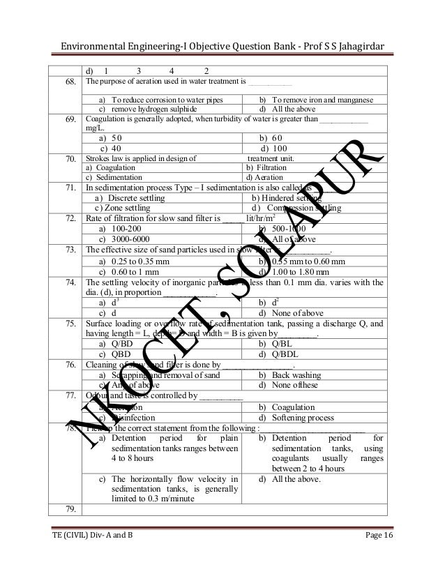 Environmental Engineering-I Objective Question Bank - Prof S S Jahagirdar d) 68.  69.  1  3  4  2  The purpose of aeration...