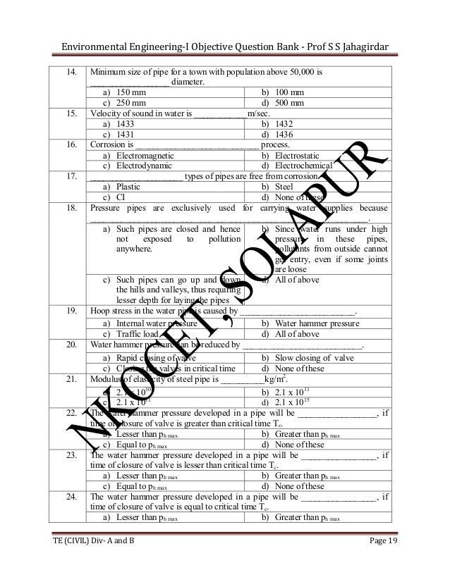 Environmental Engineering-I Objective Question Bank - Prof S S Jahagirdar 14.  15.  16.  17.  18.  19.  20.  21.  22.  23....