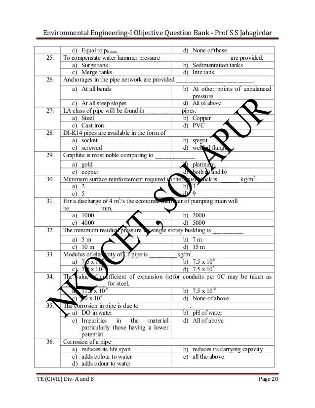 Environmental Engineering-I Objective Question Bank - Prof S S Jahagirdar  25.  26.  27.  28.  29.  30.  31.  32.  33.  34...
