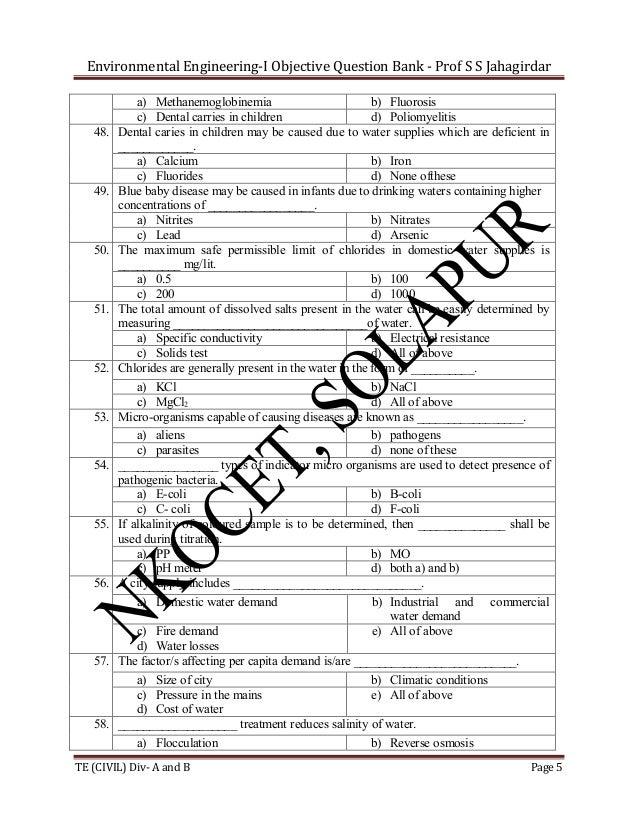 Environmental Engineering-I Objective Question Bank - Prof S S Jahagirdar  48.  49.  50.  51.  52.  53.  54.  55.  56.  57...