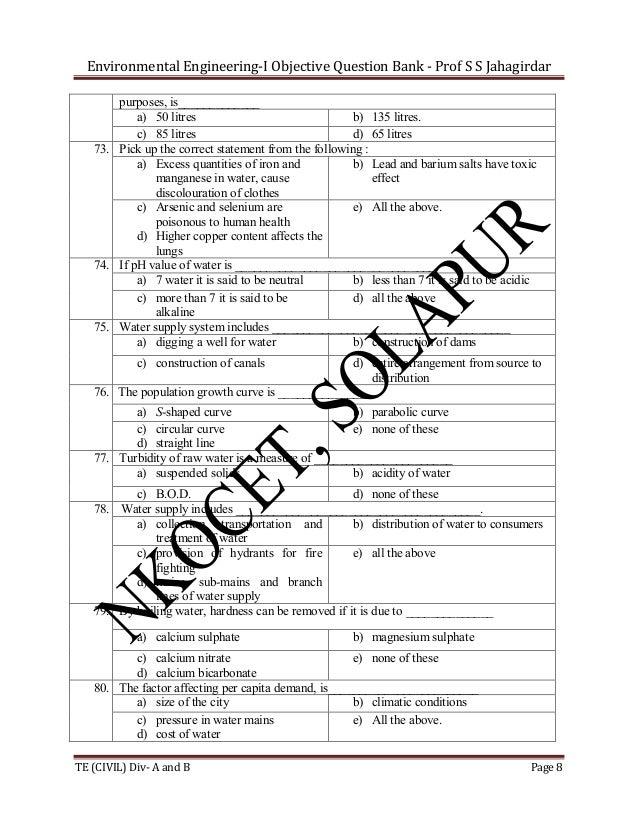 Environmental Engineering-I Objective Question Bank - Prof S S Jahagirdar purposes, is_____________ a) 50 litres b) 135 li...