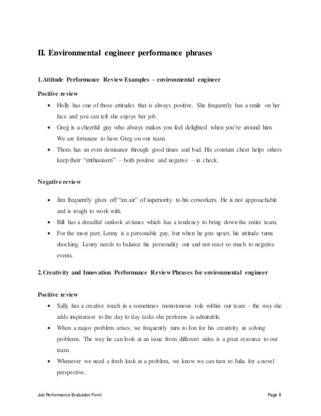 Environmental Engineer Performance Appraisal